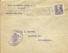CARTA CENSURA  MADRID 1939  BONITO SOBBRE EN EL DORSO - Marcas De Censura Nacional