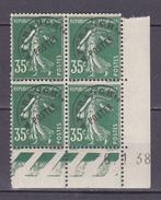 N°63 Préoblitéré  Semeuse Fond Plein : 35c Vert : Bloc Coins Datés 6.1.38 Neuf Impecable - Préoblitérés