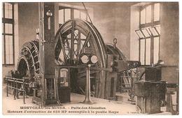 MONTCEAU-LES-MINES.PUITS DES ALOUETTES.MOTEURS D'EXTRACTION DE 600 HP ACCOUPLES A LA POULIE KœPE - Montceau Les Mines