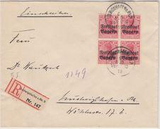 Bayern - 4x10 Pfg. Germania/Freistaat, Orts-Einschreibebrief Ludwigshafen A.Rh.3 - Bavaria