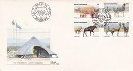 1983 BOPHUTHATSWANA FDC ON ANIMAL FAUNNA ZEBRA  RHINOCEROS - Rhinozerosse