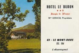 63 - LE MONT-DORE - HOTEL LE BURON - Mme LEDUCQ Propriétaire - Dépliant De 6 Pages  ( 15 Cm X 10 Cm ) - Dépliants Touristiques