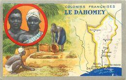 CP DESCRIPTIVE ILLUSTREE PUBLICITAIRE (LION NOIR) - BENIN -  DAHOMEY - VOIR 2 SCANS - Benin