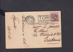 """ITALIA  1928 - Targhetta """"Torino Esposizioni"""" -  Castello  Del Valentino - Fabbriche E Imprese"""