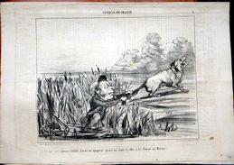 DAUMIER HONORE CROQUIS DE CHASSE LITHOGRAPHIE ORIGINALE DU JOURNAL CHARIVARI N° 321 DE 1853 COMPLET DE 4 PAGES - Lithographies