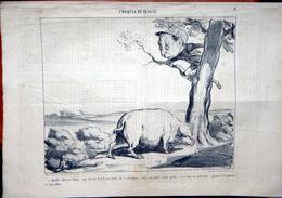 DAUMIER HONORE CROQUIS DE CHASSE LITHOGRAPHIE ORIGINALE DU JOURNAL CHARIVARI N° 325 DE 1853 COMPLET DE 4 PAGES - Lithographies
