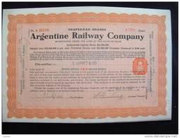 "Preferred Shares""Argentine Railway Cy""1920 Très Bon état.trains Argentina - Chemin De Fer & Tramway"