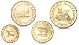 MACEDONIA 4 COINS SET ANIMALS LYNX SHEPHERD DOG FISH TROUT BIRD GULL UNC - Macedonië