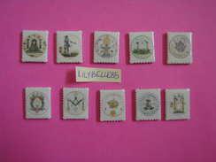 Série Complète De 10 Feves En Porcelaine PROTOTYPE - ESSAI - TIMBRES - FRANC MACONNERIE ( Feve ) RARE - History