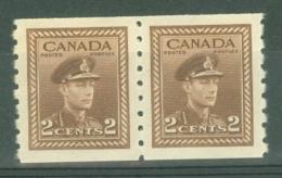 Canada: 1942/48   War Effort  [Coil]  SG390    2c   [Imperf X Perf: 8]   MNH Pair - Neufs