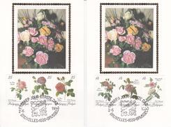 Série De 2 CM Sur Les Roses - Oeuvres De Pierre-Joseph Redouté - FDC 2-6-1990 - Timbres N°2370/5 - 1981-90