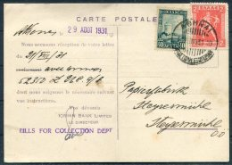1931 Greece Ionian Bank Postcard Athens - Germany - Covers & Documents