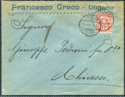 1905 Switzerland Francesco Greco, Lugano Cover - Chiasso - Cartas