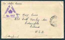 1942 GB Field Post Office FPO OAS O.A.S. Censor Cover - Indianapolis, Indiana, USA - 1902-1951 (Kings)