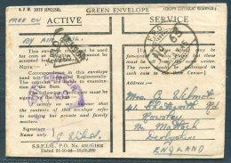 1945 GB Fieldpost FPO 'Green Envelope'  Unit + Field Censor Cover -  Wilmot, Matlock, Derbyshire. - 1902-1951 (Kings)