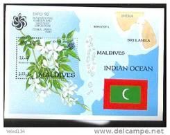 MALDIVES   1454  MINT NEVER HINGED SOUVENIR SHEET OF FLOWERS - ORCHIDS ; MAP OF MALDIVES  ; EXPO'90 ; JAPAN - Végétaux