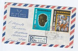 1967 REGISTERED Air Mail RHODESIA FDC  Stamps 9d 1/3 ART GALLERY  To GB  Additional 2x 3d On The Back - Rhodesia (1964-1980)