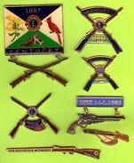 7 Pin's Club Lions Armes (Carabine Fusil Revolver)  - SP52 - Associations