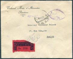 1937 Egypt Alexandria Registered O.H.E.M.S. Tribunal Mixte Residence Cover, Sidi Gaber,Ramleh, Bulkeley.France Consulate - Egypt