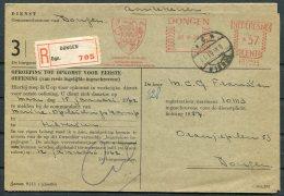 1961 Netherlands Dongen Reistered Dienst Franking Machine / Meter Mark Card - Period 1949-1980 (Juliana)