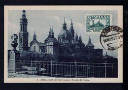 "ZARAGOZA ""El Pilar Desde El Puente De Piedra"" église Church Monuments Cathedral Ponts 1937 Spain Maximum Cards Mc701 - Maximum Cards"