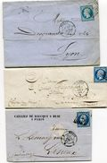 PARIS 3 LAC De  1858 1859 Et 1862 Avec N°14  Oblitérés Du Bureau D + Dateur 1521 - 1849-1876: Periodo Clásico