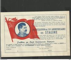 Bulletin D'adhésion Au Parti Communiste Français 1948 - Anniversaire De Staline - Documenti Storici