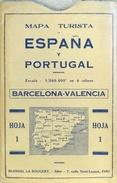Mapa Turista Espana Y Portugal (Barcelona-Valencia-Islas Baléares) - Hoja 1 - Ed. Blondel 1938 (4 Colores) - Roadmaps