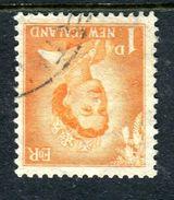 New Zealand 1955-59 QEII Large Figure Definitives - 1d Orange - Wmk. Inverted - Used (SG 745aw) - Nuova Zelanda