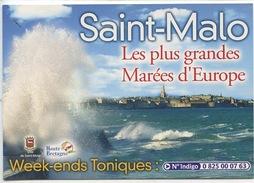 Saint Malo Les Plus Grandes Marées D'Europe (calendrier) 3 Heures De Paris En TGV (cp Vierge) 2 Scan - Saint Malo