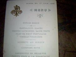 Menu Non  Publicitaire   Ecrit De 1895 - Menus