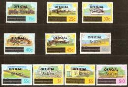 Saint Kitts Saint-Christophe 1980 Yvert N° Service 10-19 Ofiicial Surchargés  *** MNH Cote 13,80 Euro - St.Kitts-et-Nevis ( 1983-...)