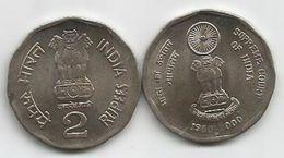 India 2 Rupees 2000. UNC KM#291 50th Anniversary Of Supreme Court - India