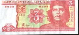 Banconota 3 Pesos Cuba Kuba Moneda Nacional Che Guevara Numerazione Palindroma - Cuba