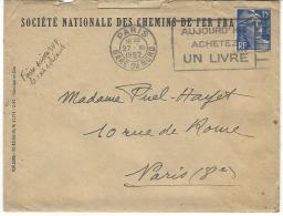 Marianne De Gandon N° 886 Flamme A Texte Paris Gare Du Nord (enveloppe Sncf) - Usados