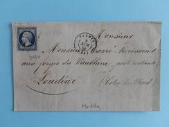 EMPIRE NON DENTELE 14 SUR LETTRE DE VANNES A LOUDEAC DU 8 NOVEMBRE 1856 (PETIT CHIFFRE 3484) - 1849-1876: Klassik