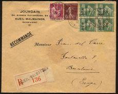 France N° 253 (x 4) + 189, 289 S/lettre Rec. 13-2-33 Pour Barcelone- TTB Qualité - France