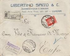 Lucera. 1930. Annullo Guller LUCERA  (FOGGIA)  Su Lettera Raccomandata - Marcophilie