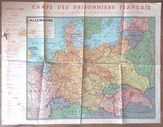 CARTE DES CAMPS DE PRISONNIERS FRANCAIS En 1944 Stalag Oflag - 1939-45
