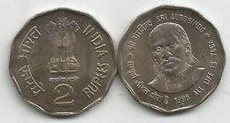 India 2 Rupees 1998. KM#131 Sri Aurobindo - Inde