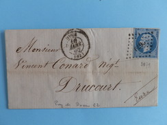 EMPIRE NON DENTELE 14 SUR LETTRE DE RIOM A DRUCOURT DU 16 JANVIER 1862 (PETIT CHIFFRE 2679) - 1849-1876: Période Classique