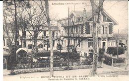 POSTAL    ARCACHON   -FRANCIA  - HOTEL TIVOLI Y DE PARIS -PENSION DE FAMILLE G. GIRARD - Arcachon