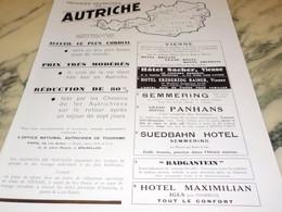 ANCIENNE PUBLICITE VACANCES HEUREUSES EN AUTRICHE   1937 - Publicité
