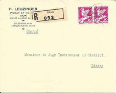 187, émission Commémorative Conférence Du Désarmement, Genève, Obl. Sion 14.IV.32, Recommandé, Cachet Au Dos - Suisse