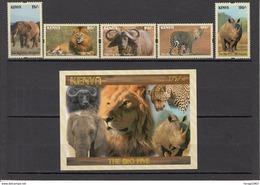 2017 Kenya NEW ISSUE! The Big 5 - May 10 - Lion Leopard Elephant Rhino Buffalo Complete Set Of 5 And Souvenir Sheet MNH - Kenya (1963-...)