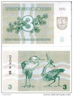 LITHUANIA  3 Talonu 1991 P 33 B UNC - Lituanie
