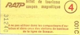 RATP - BILLET DE TOURISME - COUPON MAGNÉTIQUE (PARIS) - Subway