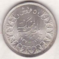 Egypte. 5 Piastres AH 1356 – 1937. Roi Farouk. Argent.  KM# 366 - Egypte
