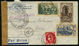 France N° 394 + 393 + 392 + 373 S/lettre Censurée Par Avion 8-6-40 Pour La Guadeloupe - TTB Qualité - France
