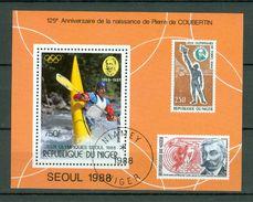 Niger 1988 - Bl. Seoul 1988 - 125 Anniversaire De La Naissance De Pierre De Coubertin - Obl. -  Gebr. - Used - Niger (1960-...)